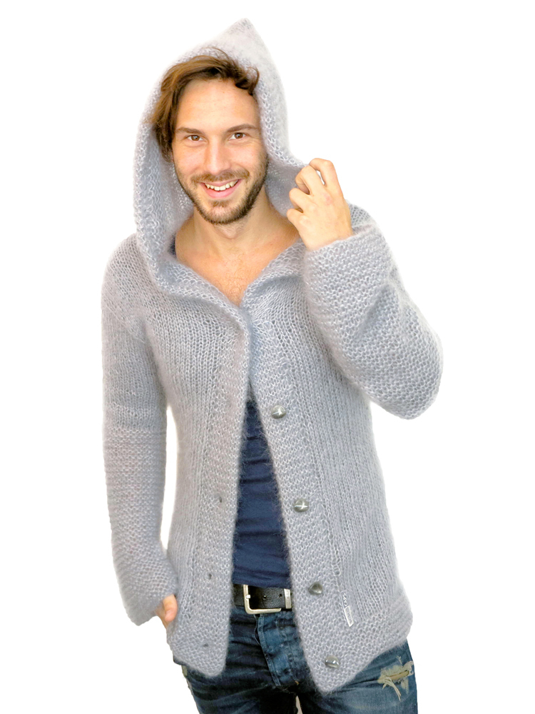 hoody strickjacke aus seide mohair hellgrau mimis casuals cardigan. Black Bedroom Furniture Sets. Home Design Ideas