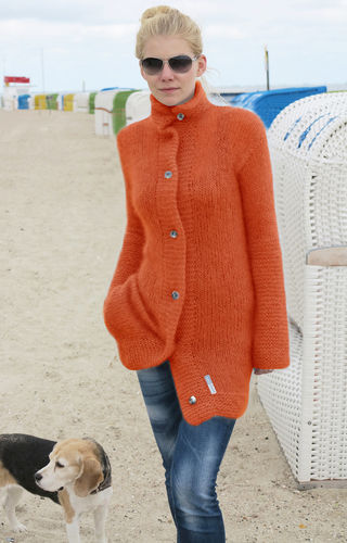 Strickjacke aus Seide-Mohair Orange