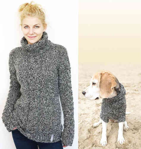 Partnerlook: Damen Pullover & Hundepulli Alpaka pepper