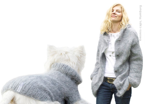 Partnerlook: Premium Mohairjacke women & Dogs-Pullover grau
