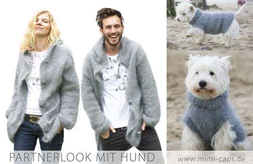 3er Partnerlook: women u. men Strickjacke & Hundepulli Mohair hgrau