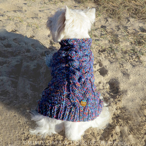 Hundepullover Merino blue cloud