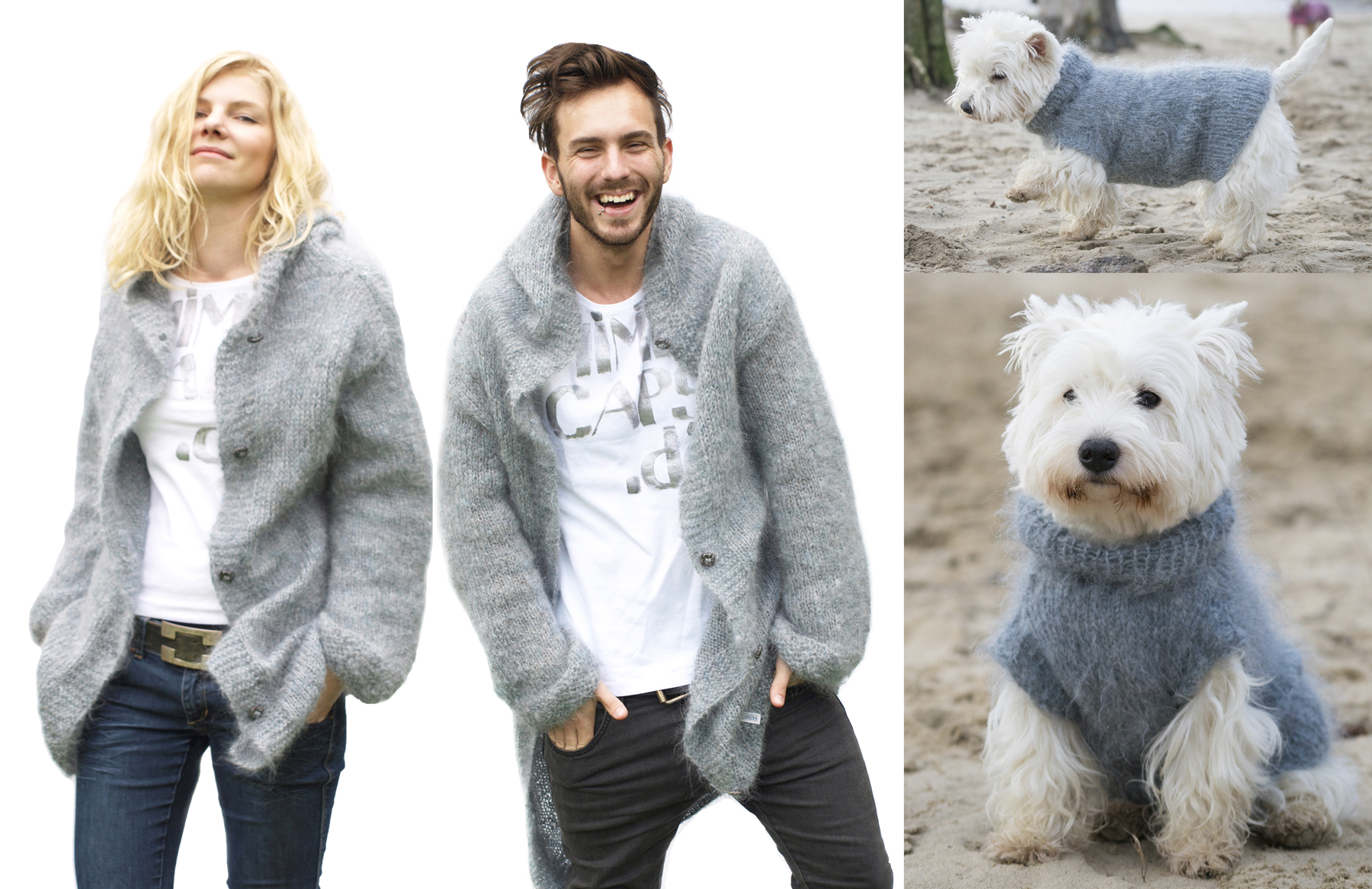 Partnerlook-Hund-Strickjacke-Hundepullover-mohair-kaschmir-mimis-caps-doggies-grau